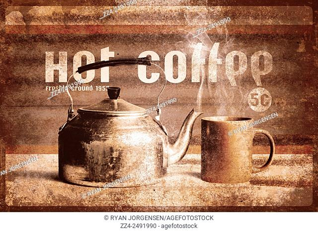 Authentic vintage metal sign design of a fresh brewed coffee cup and tea pot sitting on an old coffee shop bench ground in 1953