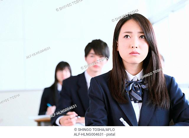 Japanese high-school students during a lesson