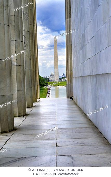 Tall White Columns Washington Monument Capitol Hill Lincoln Memorial Washington DC. Dedicated 1922