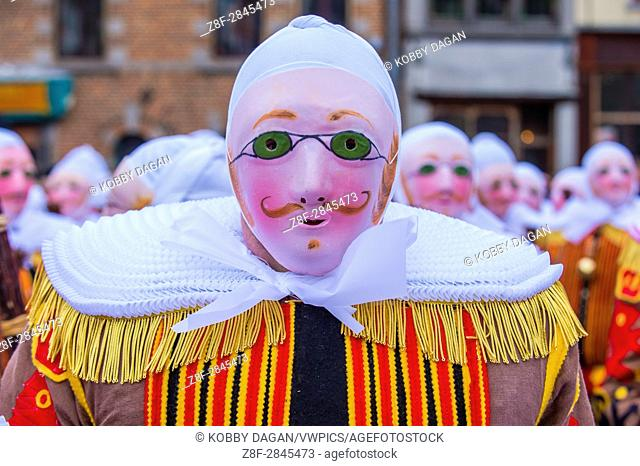 Participant in the Binche Carnival in Binche, Belgium. The Binche carnival is included in a list of intangible heritage by UNESCO