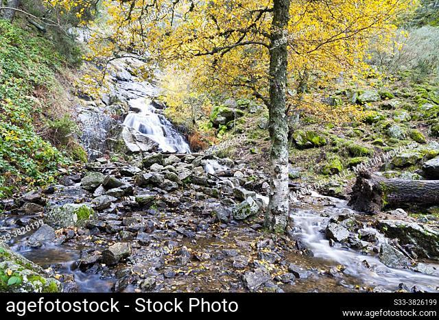 Mojanavalle waterfull in the Sierra de Guadarrama. Canencia. Madrid. Spain