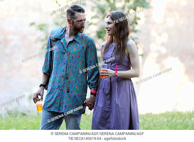 Amanda Knox with boyfriend Christopher guests at the Criminal Justice Festival in Modena take a cocktail in the garden ,Modena, ITALY-13-06-2019