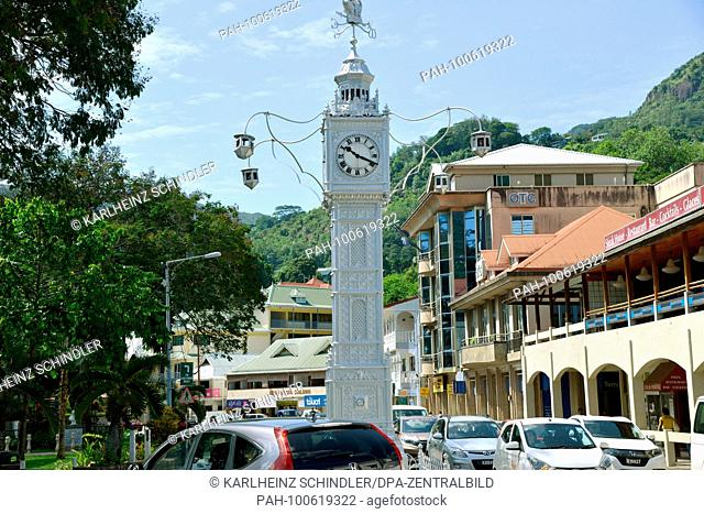 22 January 2018, Seychelles, Victoria: The clock tower on the corner of Independence Avenue and Albert Street in Victoria, capital of the Seychelles
