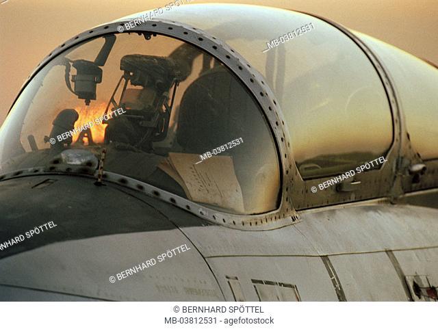 Kampfjet L-29, detail, cockpit,    Military, military airplane, fight airplane, airplane, training airplane for MIG-29, sunset, concept, war, air raid