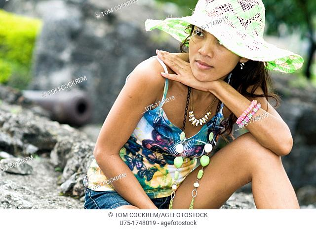 Young woman in Fort San Pedro, Cebu City, Philippines