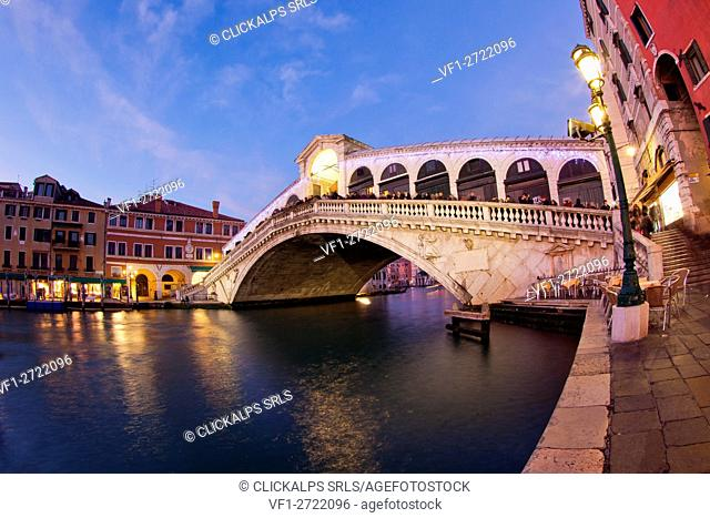 Rialto Bridge is one of the four bridges spanning the Grand Canal in Venice, Italy