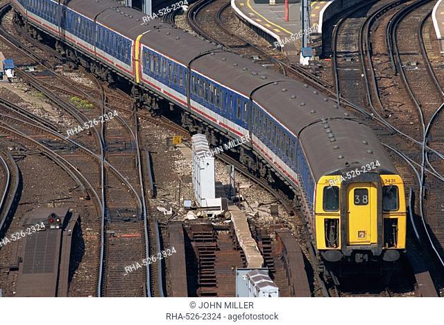 Train leaving Waterloo station, London, England, United Kingdom, Europe