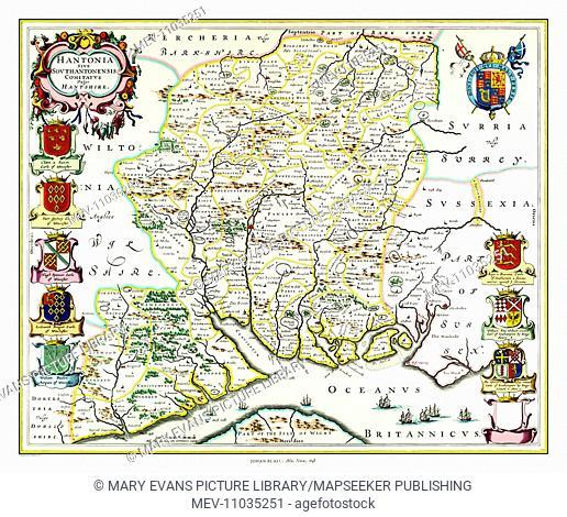 Map of Hampshire by Johan Blaeu