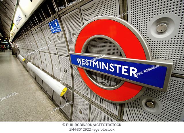 London, England, UK. Westminster underground station platform