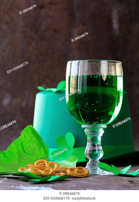 traditional symbols for Patrick's Day - green beer and clover