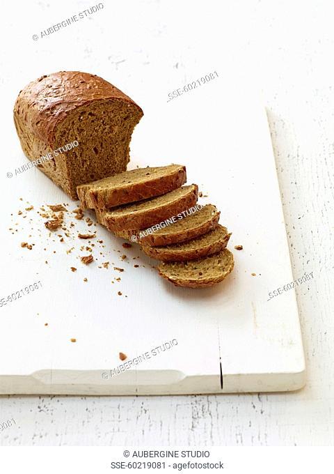 Sliced granary bread loaf
