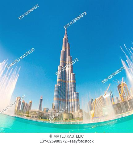 Burj Khalifa and Dubai Fountain in Dubai. United Arab Emirates. Burj Khalifa is the tallest skyscraper in the world at 829.8m