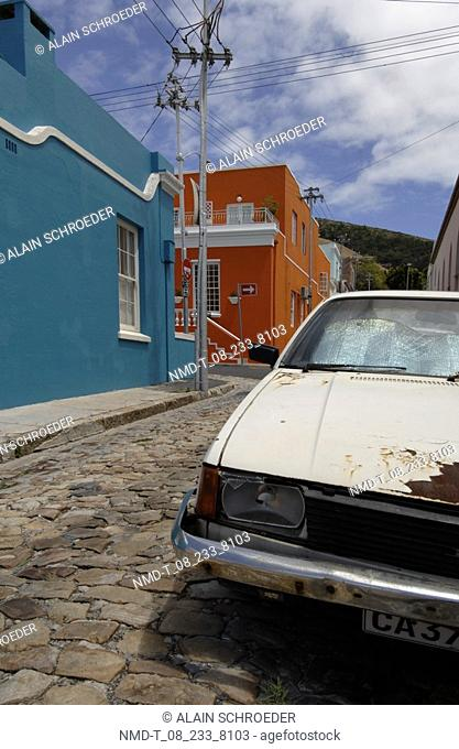 Car parked on a street, Bo-Kaap, Cape Town, Western Cape Province, South Africa
