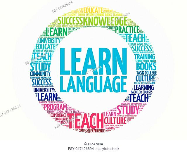 Learn Language word cloud, education business concept