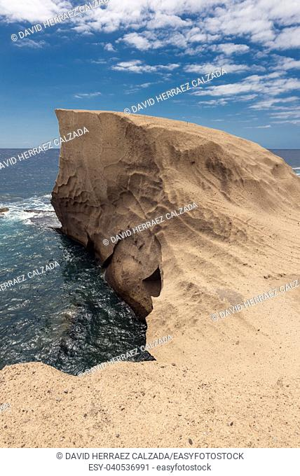 Tajao landscape, volcanic coastline in south Tenerife island, Canary islands, Spain