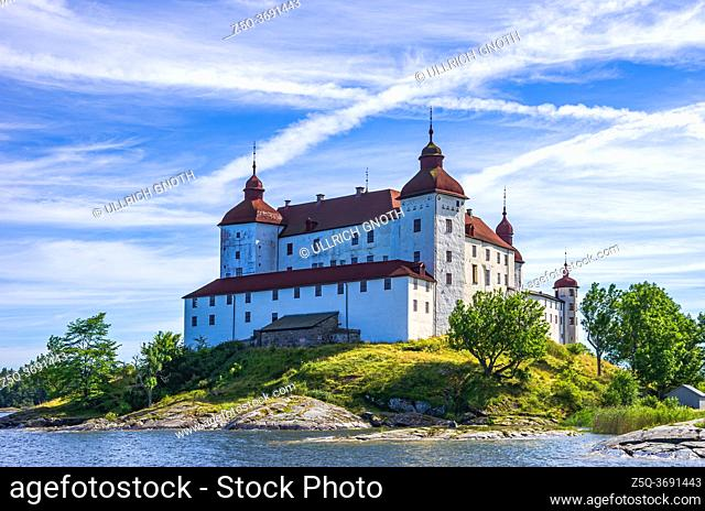 View of Baroque Läckö Castle on Kållandsö in Lake Vänern in Västergötland, Sweden