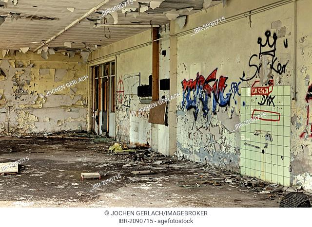 Empty room, graffiti, abandoned factory