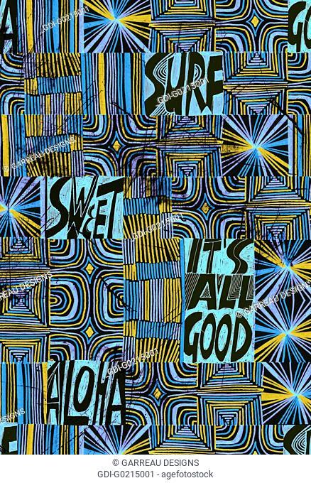 Blue line design with surf words