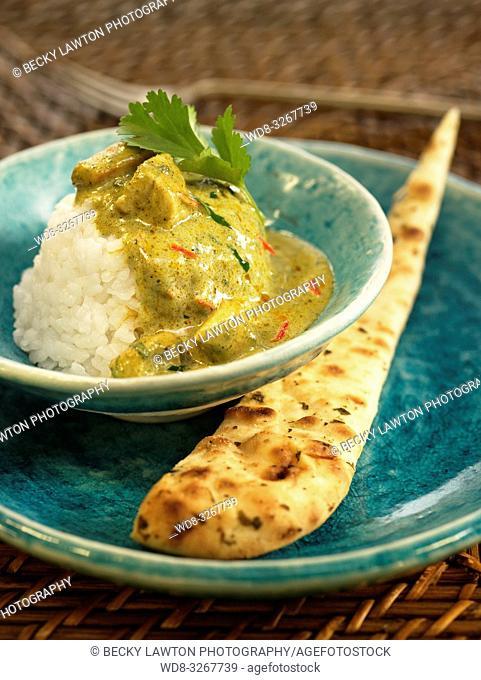 curry verde de pollo y arroz