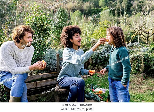 Happy family sitting in garden, taking a break, eating sandwiches