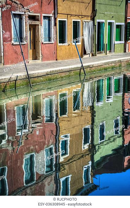 Reflections in a canal, Burano, Italy