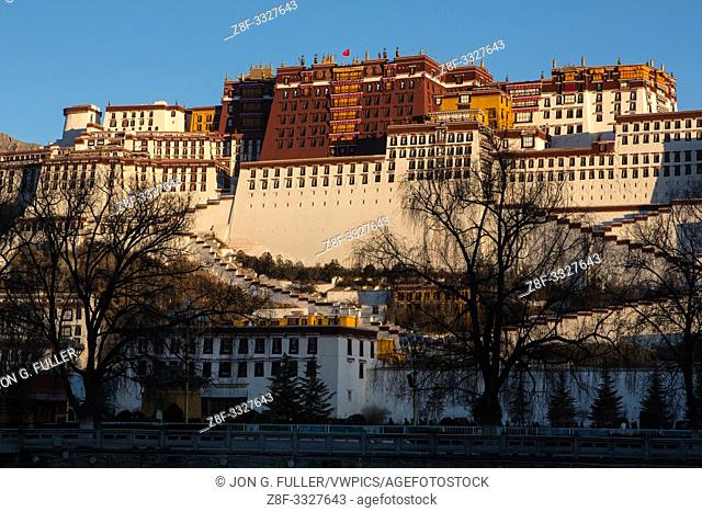 The Potala Palace was founded about 1645 A. D. and was the former summer palace of the Dalai Lama and is a part of the Historic Ensemble of the Potala Palace