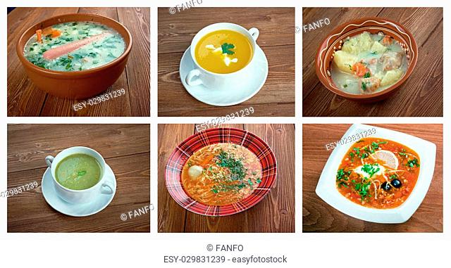 Food set of different traditional soups. collage
