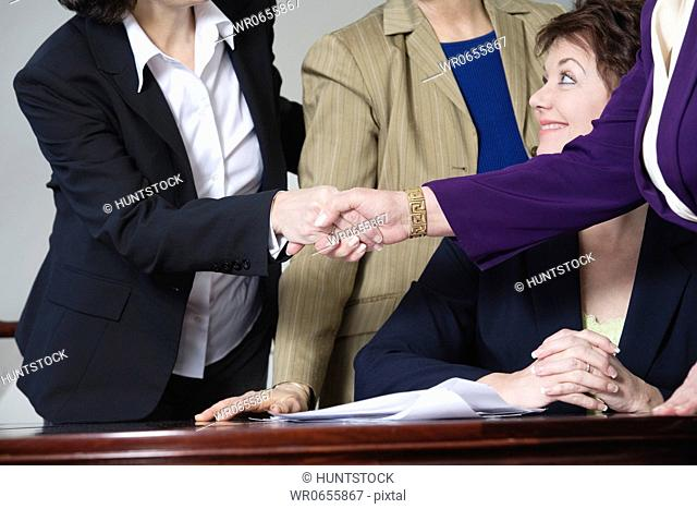 View of a smiling business woman looking at her colleague greeting