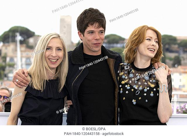 Jessica Hausner (l-r)r, Phenix Brossard and Emily Beecham attend the photocall of 'Little Joe' during the 72nd Cannes Film Festival at Palais des Festivals at...