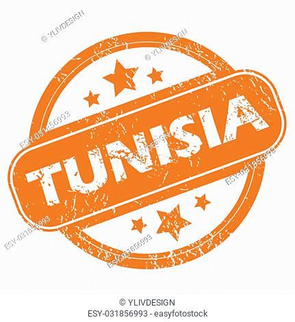 Tunisia orange grunge rubber stamp on a white background. Vector illustration