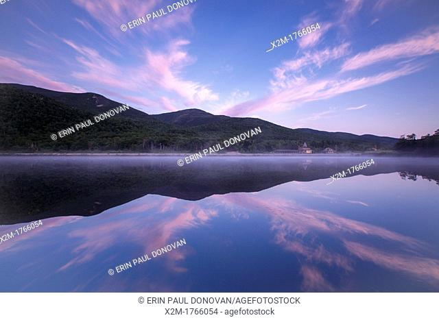Crawford Notch State Park - Reflection of mountain range in Saco Lake during the summer months in the White Mountains, New Hampshire USA