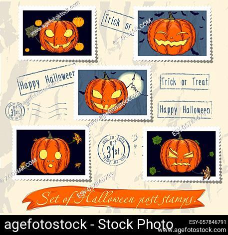 Vintage halloween post stamps set. Vector illustration EPS10