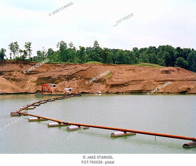 Pipeline across a dam, near Kenyon, Ohio