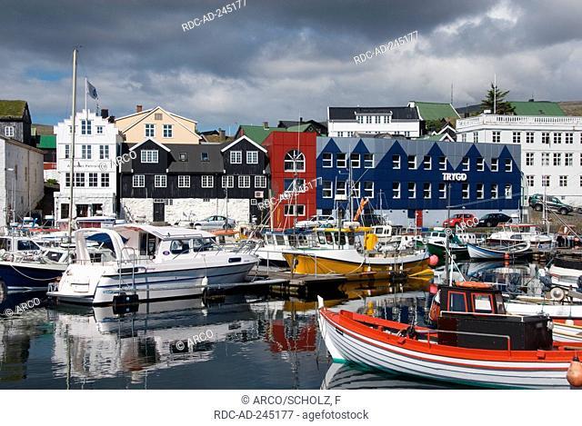 Eastern harbour Torshavn isle Streymoy Faro Islands Denmark Thorshaven Faerö Islands Färö Islands Faeroe Islands