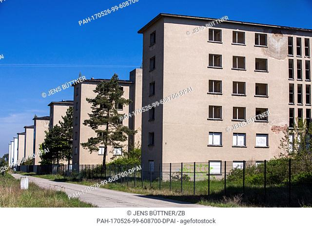 The empty ruins of the landmarked former Kdf complex Prora can be seen on the island of Ruegen in Binz, Germany, 18 May 2017