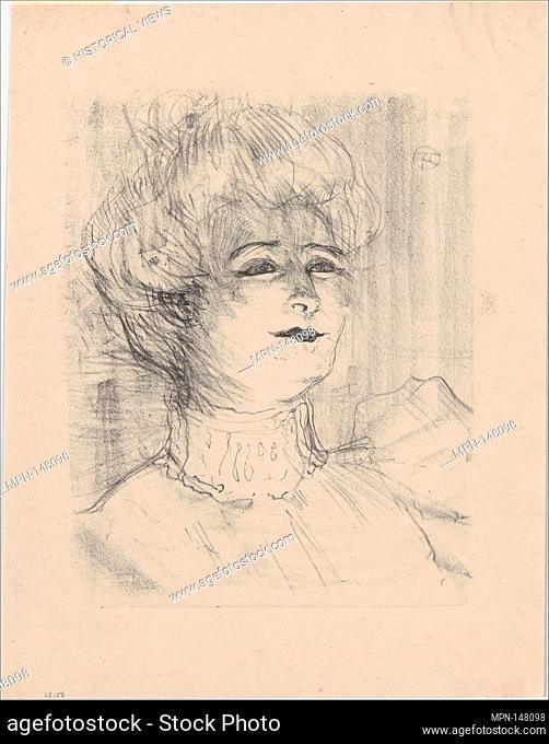 Marie-Louise Marsy. Series/Portfolio: PORTRAITS OF ACTORS AND ACTRESSES; Artist: Henri de Toulouse-Lautrec (French, Albi 1864-1901 Saint-André-du-Bois); Date:...