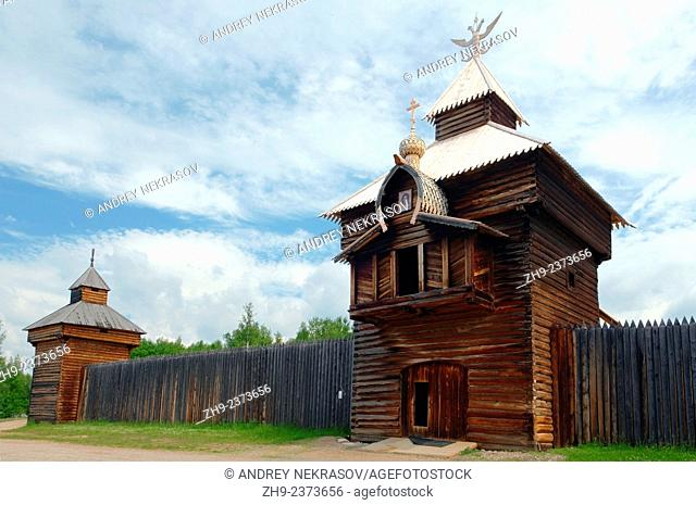"Spassky passable tower of the Ylym jail, 1667. """"Taltsa's"""" (Talzy) - Irkutsk architectural and ethnographic museum. , Baikal, Siberia, Russian Federation"