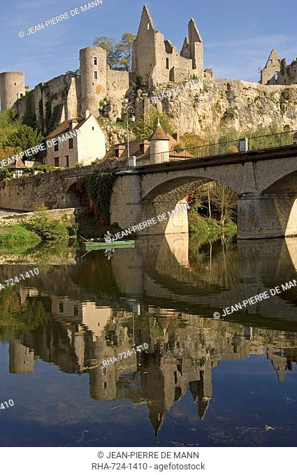 An angler on the Anglin river, with the medieval castle built between the 11th and 15th centuries behind, Angles sur l'Anglin, Vienne, Poitou-Charentes, France