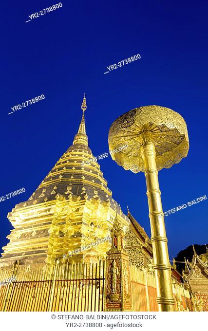 Wat Phra That Doi Suthep temple at night, Chiang Mai, Thailand