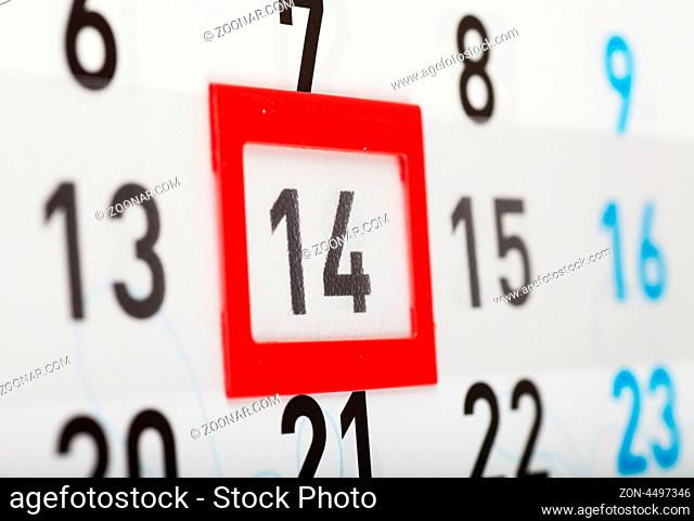 Sheet of wall calendar with red mark on Valentines day