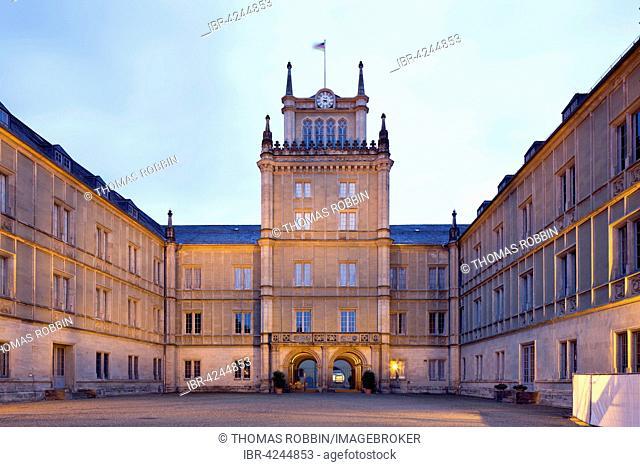 Ehrenburg Palace, courtyard at dusk, Coburg, Upper Franconia, Bavaria, Germany