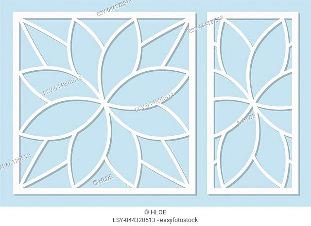 Set decorative card for cutting laser or plotter. Mandala, geometric flower pattern. Laser cut. Ratio 1:1, 1:2. Vector illustration