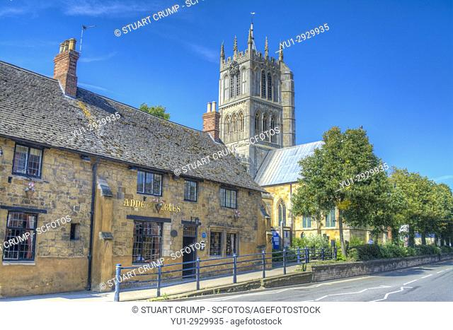 HDR image of Anne of Cleaves restaurant and St Marys Church in Melton Mowbray Leicestershire UK