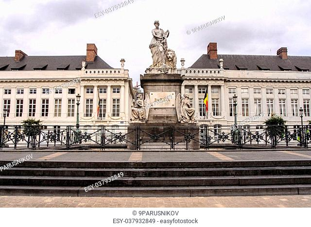 The Martyr's square in Brussels and the Pro Patria memorial monument - belgium