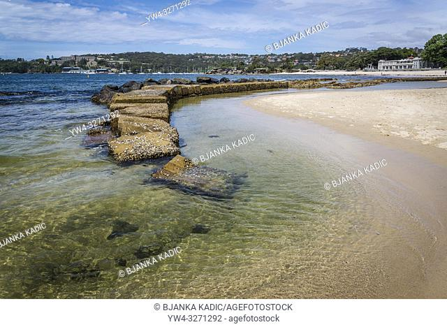 Balmoral Beach and Bathersâ. . Pavilion restaurant in distance, North Shore, Sydney, NSW, Australia