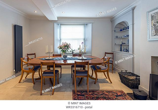 Empty table in dining room