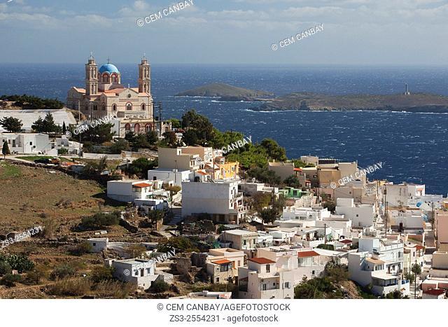 View to the Anastasis church in Vrodado, Syros, Cyclades Islands, Greek Islands, Greece, Europe