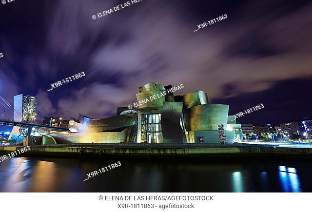 Panoramic night view of the Guggenheim museum and River Nervion, Bilbao, Biscay, Basque Country, Spain