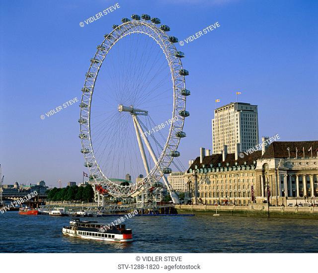 Amusement, Amusement park, Boat, England, United Kingdom, Great Britain, Europe, Ferris wheel, Holiday, Landmark, London, London