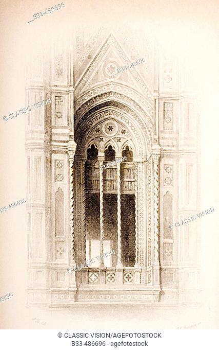 Florence Italy. Tracery from the Campanile of Giotto. Artist John Ruskin. Engraver J. C. Armytage. From The Seven Lamps of Architecture by John Ruskin published...